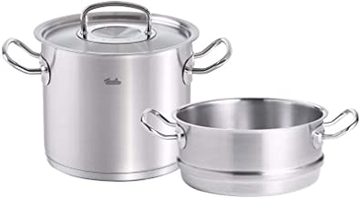 Fissler original-profi collection , Stainless Stock Pot & Steamer Set, 10-Inch, Stainless Steel Cookware, Compatible Stove...