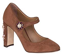 Brown Suede Jewel Mary Jane Pumps Heels Shoes