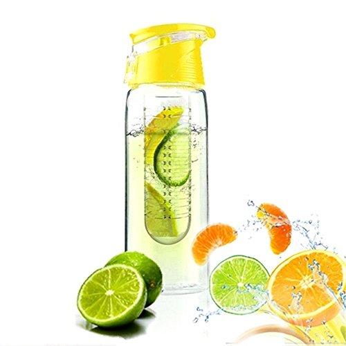 Demarkt Trinkflasche für Fruchtschorlen Gemüseschorlen Wasserflasche Kunststoff Trinkflasche Sport Flasche ca. 800 ml Sportflasche Auslaufsicher BPA-frei (Gelb)
