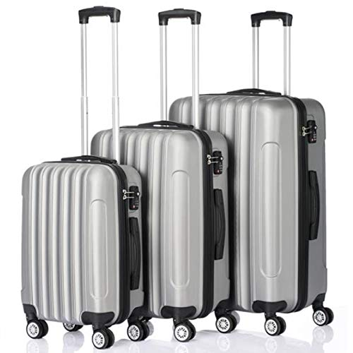 QMKJ 3pcs light 4-wheel ABS hard shell travel trolley Three-in-one large-capacity suitcase Hand luggage bag Silver 20' 24' 28'