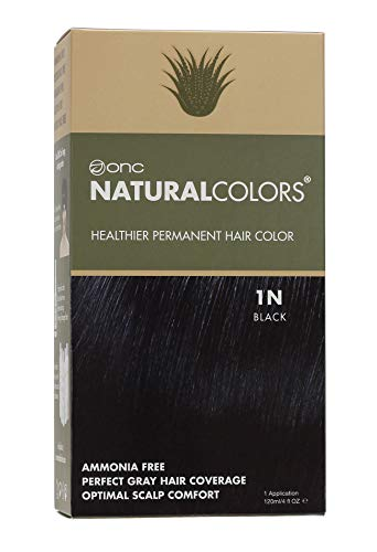 ONC NATURALCOLORS (1N Black) 4 fl. oz. (120 mL) Healthier Permanent Hair Dye with Certified Organic Ingredients, Ammonia Free, Vegan Friendly, 100% Gray Coverage