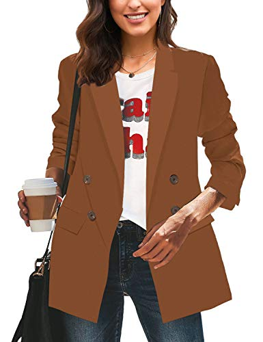 LookbookStore Women Casual Brown Loose Long Blazers for Women Buttons Work Office Blazer Jacket Suits Size M