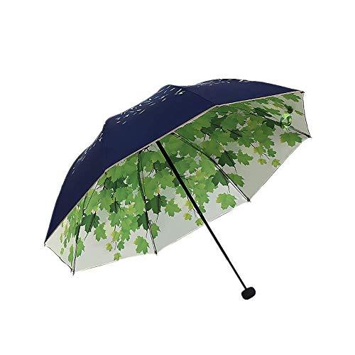 YNHNI Paraguas plegable de doble capa de protección solar gruesa sombrilla para mujer, triple plegable, lluvia y sol, doble propósito, portátil (color: azul marino)