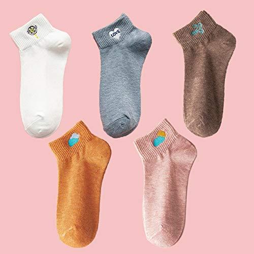 5 Pares de Calcetines de Dibujos Animados de Color sólido Lindos Calcetines de Mujer Kawaii Casuales Calcetines de algodón Bordados para niña Bonita-2