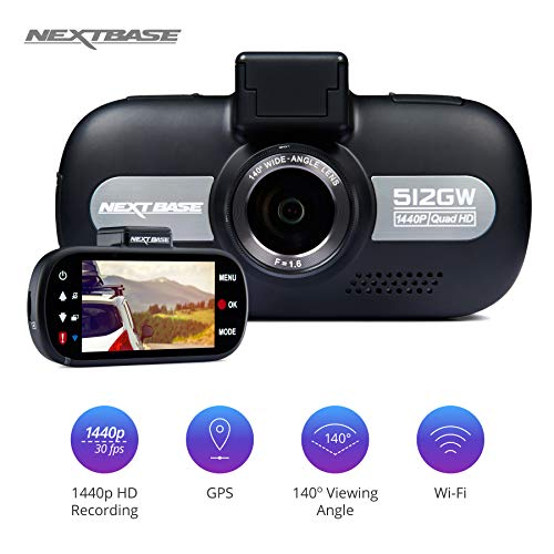 Nextbase 512GW - Full 1440p HD In-Car Dash Camera DVR - 140° Viewing Angle – WiFi and GPS – Anti-Glare Polarising Filter - Black