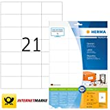 HERMA 8634 Universal Etiketten DIN A4 (70 x 42,3 mm, 10 Blatt, Papier, matt) selbstklebend,...