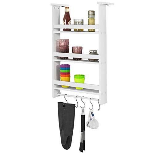 SoBuy FRG150-W Regal zum Aufhängen, für Kühlschrank, mit Saugnäpfen, Gewürzregal aus Holz, 3Einlegeböden–Weiß