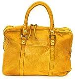 BZNA Berlin Sofia gelb yellow Vintage Business Aktentasche Handtasche Damentasche Herrentasche Echt Leder Ledertasche Handtasche Bag