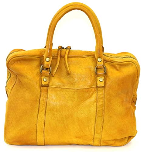 BZNA Berlin Sofia gelb yellow Vintage Business Aktentasche Handtasche Damentasche Herrentasche Echt Leder Ledertasche Handtasche Bag