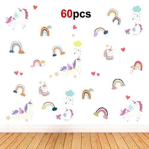 HOWAF 60pcs Unicornio Etiqueta de Pegatinas Decorativas Pared Vinilo Mural Decoración de la habitación para Infantil Chico Niña Bebé