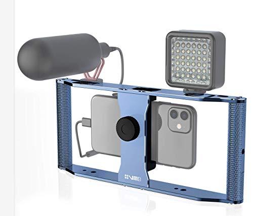 Guedieo Smartphone Video rig Aluminium Legering Filmmaking Case Telefoon Video Stabilizer Grip Statief Bevestiging voor Videomaker Film-Maker Video-grapher voor iPhone 11 11pro11 max Xs XS Max XR X 8 goprohero8/7/6