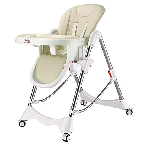 Best Bargain Baby High Chair for Feeding and Dining, with Lockable Wheels and Washable Tray,Beige