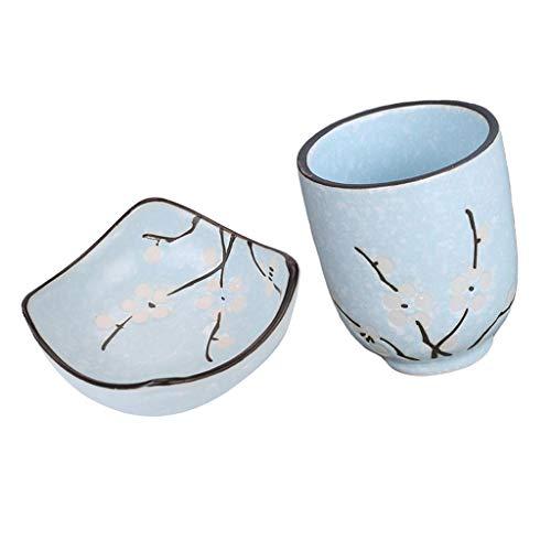Baoblaze Juego de Y Taza de Té de Soja Y Wasabi de 150 Ml, Vajilla Azul de Estilo Japonés
