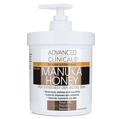 Advanced Clinicals Manuka Honey Cream for Extremely Dry, Aging Skin For Face, Neck, Hands, and Body. Spa Size 16oz (16oz)