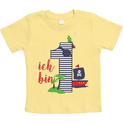Shirtgeil Shirtgeil 1 Jahr Geburtstag Piraten Geschenk Jungen Baby T-Shirt 3-6 Monate / 66 Gelb