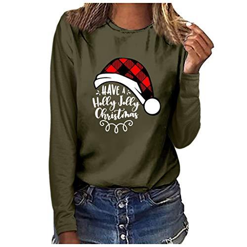Xmiral Bluse Langärmliges T-Shirt Damen Drucken Rundhals Slim Fit Sweatshirt Weihnachten Tops Grundierung Pullover(b Armeegrün,M)