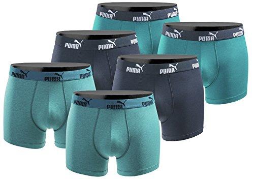 PUMA Boxershort 6er Pack Herren Basic Black Limited Edition - New Ocean - Gr. L