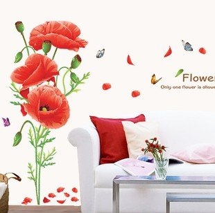 Colorfulworld@Wunderschön!Mohnblumen Riesig!Wandtattoo Wandaufkleber Wall sticker Kinderzimmer Geschenk