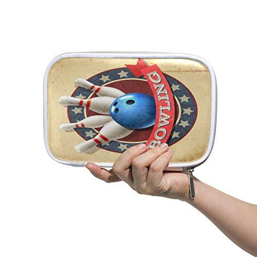 SunsetTrip Federmäppchen Bowling Sport Ball Muster Halter Bleistifttasche Reißverschluss Schreibwaren Beutel Organizer Kosmetik Stifttasche für Schule Teenager Mädchen Kinder Jungen
