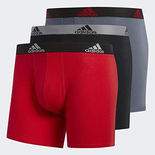 adidas Herren-Boxershorts aus Stretch-Baumwolle, 3er-Pack, Scharlachrot / Schwarz / Grau Onix / Schwarz, Größe XL