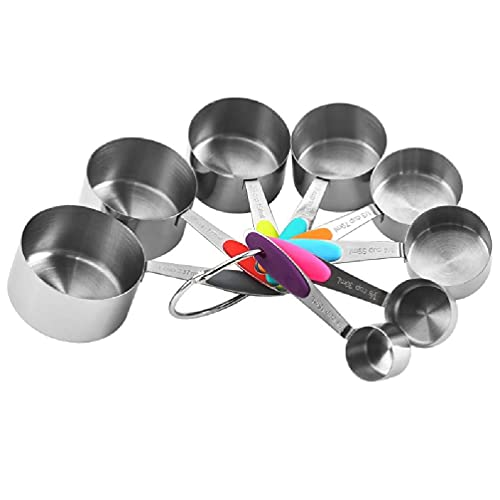 xllLU 8 unids/set tazas de medición cucharas de acero inoxidable condimento café té medida herramienta con mango de silicona cuchara de medición conjuntos madera
