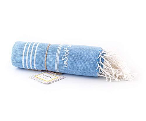 LeStoff Telo Mare Fouta Telo da Bagno XXL 100% Organico Cotone di Alta qualità Asciugamano Turco Hammam Super Assorbenza Asciugatura Rapida Ecologico prelavati 100 x 180 cm Light Blue