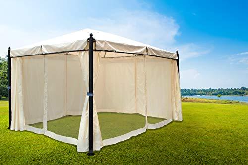 Tuinpaviljoen, 3 x 4 meter, zwart frame met gehamerde optiek, waterdicht dak en zijkanten, ecrukleurig, met extra muggennetten