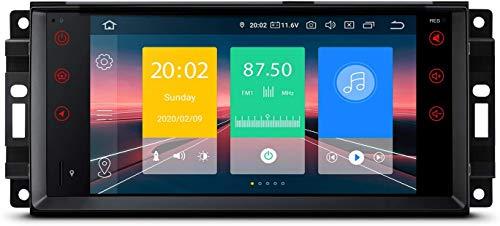 MIVPD Compatible para Jeep Wrangler Dodge Chrysler Android 10.0 Sat Nav FM Radio Doble DIN Auto Audio Player Coche Estéreo De 7 Pulgadas Pantalla Táctil LCD Monitor GPS Navegación,4 Core WiFi 1+16GB