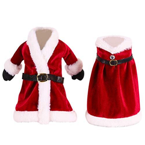 Hemoton - Lote de 2 bolsas de Navidad para botella de vino, diseño de Santa
