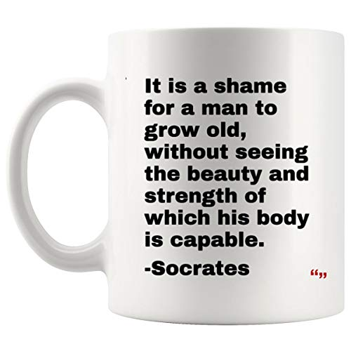 Hilarious Mug - Joke Men Cup Women Mugs - Socrates Quote On Fitness Personal Trainers for Trainer Training Coach | Thoughtful T-Shirt Gift