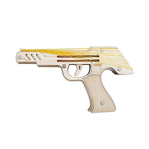 DNAMAZ Pistole DIY 3D Holzpuzzle Feinschneidwoodcraft-Montage-Kit 9 Laufende Feuer Gummiband-Gewehr for Kind-Geschenk (mit 50 + Gummibänder) holzmodelle