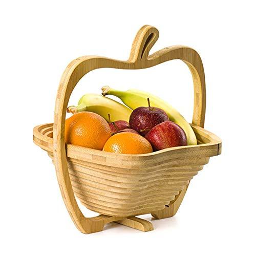 Aly Frutero De Bambú Soporte Plegable Cesta De Fruta Forma De Manzana,Natural Almacenamiento Craft Posavasos