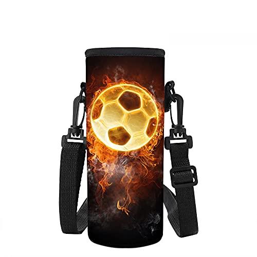 Binienty Bolsa de neopreno para botella con correa ajustable para el hombro, bolsa para botella de agua de neopreno para niños y niñas, impresión de fútbol de fuego