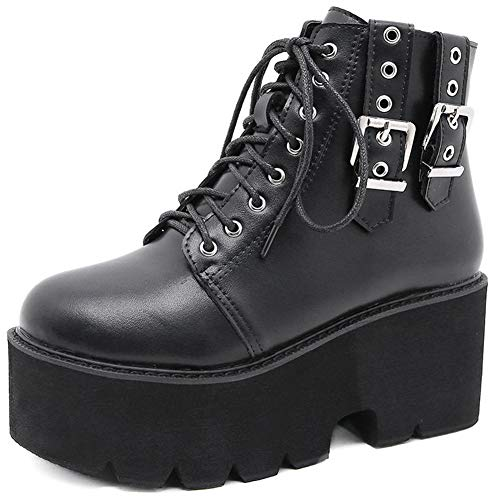 Cynllio Fashion Block Heel Platform Combat Ankle Booties donna stringato borchie stivali moto metà polpaccio stivali, Nero (2 nero), 37 EU