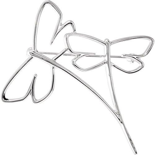 Broche de libélula blanca de 14 K