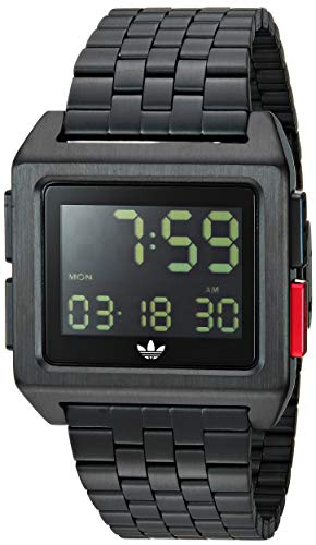 adidas Originals Watches Archive_M1. Men's 70's Style Stainless Steel Digital Watch with 5 Link Bracelet (36 mm) - All Black/Tech Green