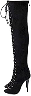 Womens Thigh High Over The Knee Platform Lace Up Stiletto Heel Boots Back Zipper