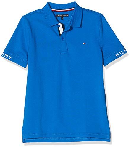 Tommy Hilfiger Jungen Sleeve Text Polo S/s Poloshirt, Blau (Lapis Lazuli 431-880 C5d), 6-7 Jahre (Herstellergröße: 7)