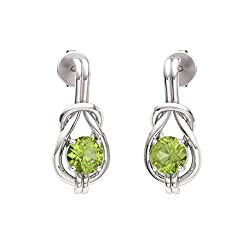 Peridot Gemstone Infinity Knot Solitaire Earrings in 14k White Gold
