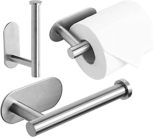 Toilet Roll Holder Self Adhesive - 3M Toilet Paper Holder 304 Stainless Steel Wall Mount Brushed, Strong Adhesiveness and Waterproof (No Drilling Required)