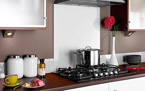 Vidriopanel Panel DE Vidrio para Cocina en Diferentes Medidas y Colores/Cristal de Protección Salpicaduras para frentes de cocinas (70x65 cm, Blanco)