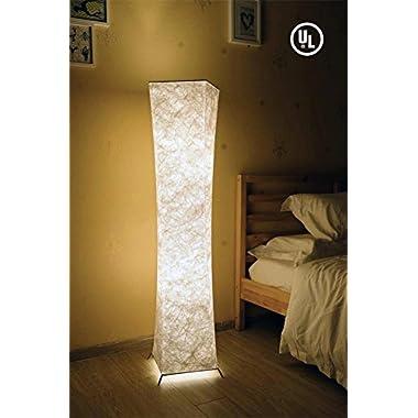 52  Fabric LED Floor Lamp, BI-LIGHT Softlighting Minimalist Modern Twisted Design Fabric Shade with 2 Bulbs Floor Lamps for Living Room Bedroom Home Office (Tyvek DuPont 10.2x10.2x52 Inch)