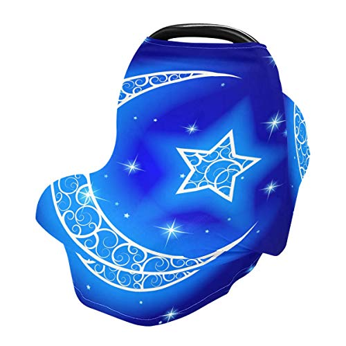 Nursing Cover Breastfeeding Scarf Moon with Star Blue Night Starry Sky - Baby Car Seat Covers, Stroller Cover, Carseat Canopy (801m)
