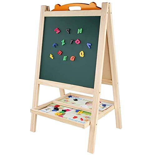 Wghz Kinder Staffelei Kinder Holz Stehende Kunst Staffelei Falten Doppelseitige Mehrzweck Magnetische Staffelei für Mädchen Junge Geeignet zum Malen (Farbe: Grün, Größe: B)