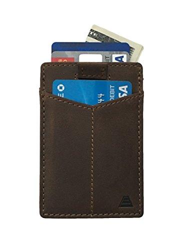 Andar Leather Card Sleeve Slim Wallet, Front Pocket RFID Blocking Minimalist Card Holder - Full Grain Leather - The Monarch (DARK BROWN)