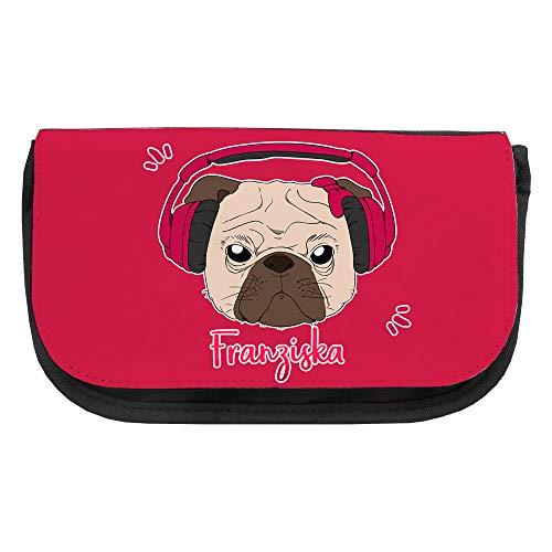 Kosmetiktasche mit Namen Franziska und Mops-Motiv mit Kopfhörer und Schleife in Pink | Schminktasche | Viele Vornamen zur Auswahl