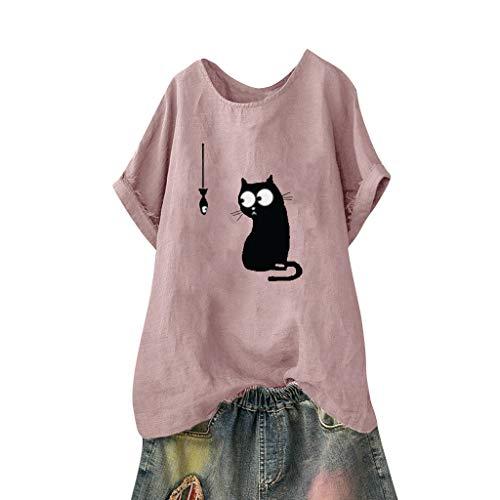 TUDUZ Blusas Mujer Manga Corta Camisas Patrón De Impresión