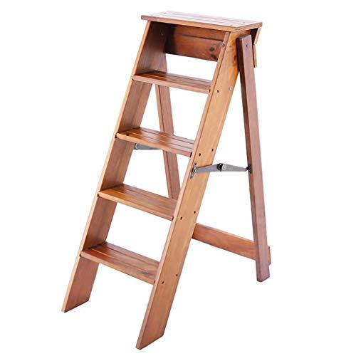 JHome-Klappstufen Klappbarer 5 Tritt-Tritthocker/Leiter/Stuhl, Holz-Haushalts-Treppenstuhl Sicherheit Trittleiter-Sitze Verbreitert Hoher Hocker Hausgartenwerkzeug Höhe 88 cm Schwere max. 150 kg