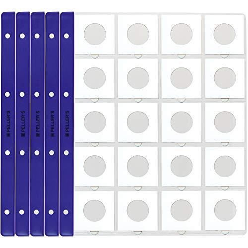 PELLER'S Hüllen für Münzrähmchen, 20 Fächer auf jeder Sammelhüllen. 10er Pack Münzalbum, Plastik, Extra Transparent, Modell XL 50 x 50 mm