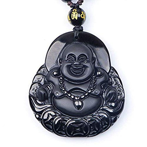 Pure Natural Obsidian Pendant Necklace Obsidian Crystal Pendant Necklace Pattern with Extend Bead Chain for Men or Women (Laughing Maitreya Buddha)